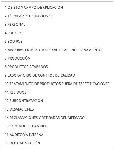 Contenidos de la Norma ISO 22716