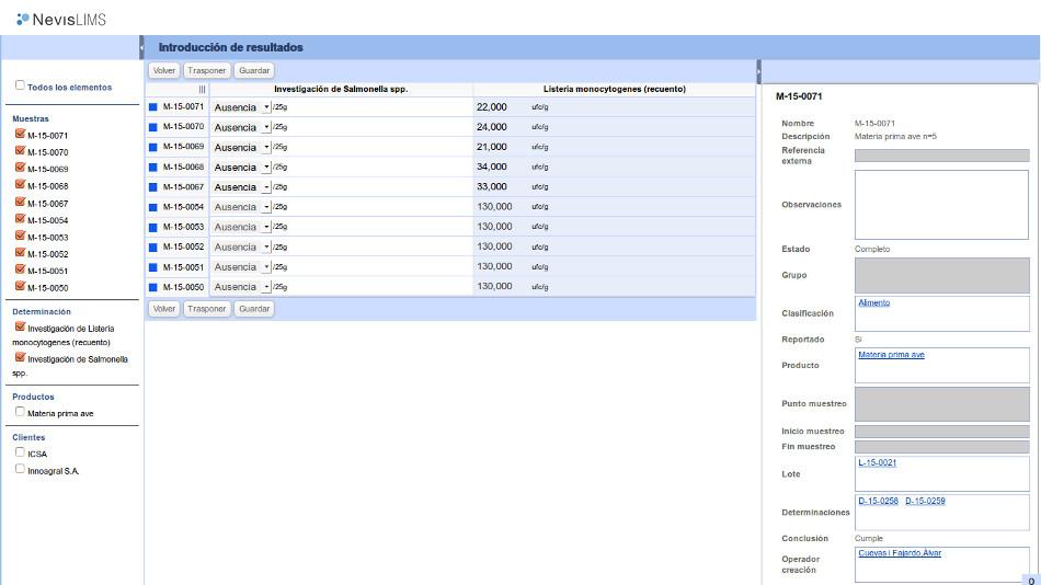 Interfaz de introducción de resultados de Nevis LIMS