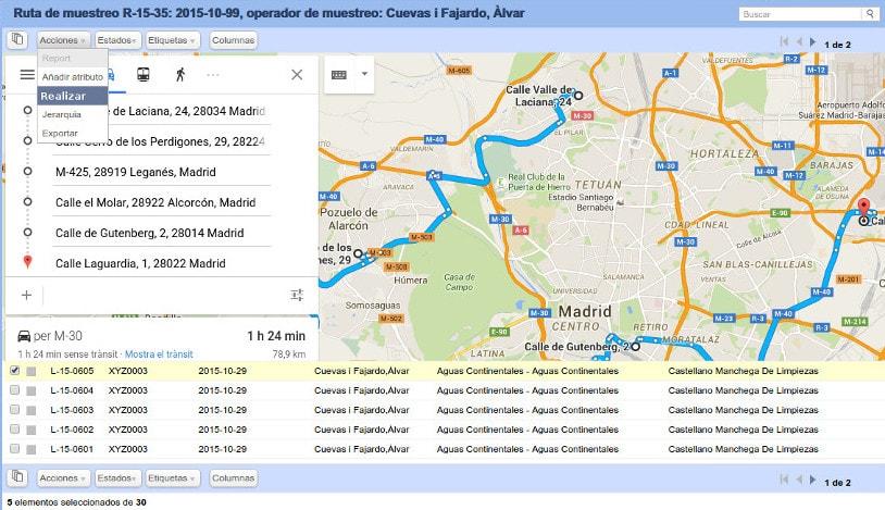 Sistema de rastreo de las muestras de Nevis LIMS integrado en Google Maps